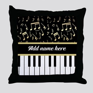 Personalized Piano and musical notes Throw Pillow
